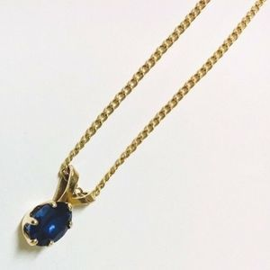 Jewelry - 14k solid gold 1ct AAA Sapphire curb chain